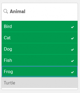 Five animals filtered
